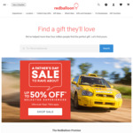 $10 off $75 / $30 off $129 / $50 off $250 Spend @ RedBalloon