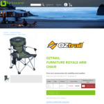 Oztrail Furniture - Royale Arm Chair in Green $49.99 + Shipping (Free Metro Del. for 2 Chairs) @ LeisureGear