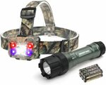 MOSSY OAK Tactical LED Flashlight Torch & Headlamp Set $9.99 + Delivery ($0 with Prime/ $39+) @ Greatstar Tools Amazon AU