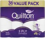 Quilton 3 Ply Toilet Tissue (180 Sheets Per Roll, 11x10cm) 36 Pack $13.99 (C&C) @ Chemist Warehouse