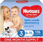 Huggies Ultra Dry Boys Size 3, 4 & 6 Nappies 1 Month Supply $46 (S&S $41.40/Prime $39.10) Delivered @ Amazon AU