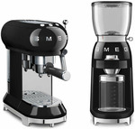 Smeg Black 50s Retro Style Espresso Coffee Machine & Coffee Grinder Pack $579 Delivered @ Appliances Online
