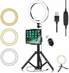 """TERSELY 8"""" LED Ring Light with Adjustable Tripod Standing $29.96 + Delivery ($0 with Prime/ $39 Spend) @ Statco via Amazon"""