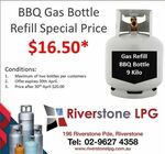 [NSW] BBQ Gas 9 Kilo Cylinder/Bottle Refill $16.50 (Normally $20) @ Riverstone LPG