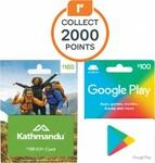 Bonus Everyday Rewards Points on TCN Him (JB Hi-Fi), Google Play, Kathmandu Gift Cards: $50 = 1000, $100 = 2000 Pts @ Woolworths