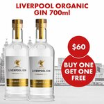 Liverpool Organic Gin 700ml 2 for $60 (BOGOF) + $10 Shipping (Free with $80 Spend) @ The Drop Store