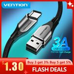 Vention USB to USB-C Cable 0.5m US$0.76 (~A$1.05), 1m US$1.42 (~A$1.96) Delivered @ Vention Official Store AlIExpress