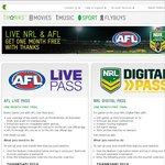 1 Month Free Trial for AFL and NRL Live Passes