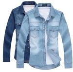 Men's Denim Blue Jean Shirt  M-XXL Size AU $14.30 Free Shipping @ AliExpress