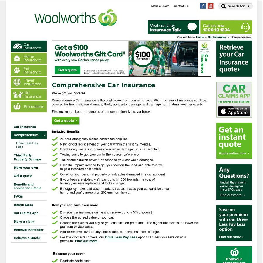 Woolworths Car Insurance Gift Card