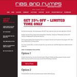 25% off The Total Bill on Monday, Tuesday & Wednesday till The End of March @ Ribs and Rump [NSW, VIC, QLD]