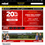 Minimum 20% off Sitewide (Online Only, Free C&C) @ Rebel (Excludes Some Fitness Tech)