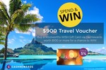 Win a Travel Voucher Worth $900 with Purchase of $100 Woolworths WISH Gift Cards @ Cashrewards (up to 25 Entries)
