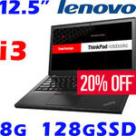 Lenovo ThinkPad X260 Core i3 8GB Memory 128G SSD 1.3KG, $560 + $19 Postage ($0 Pick up NSW) @ oz.buy on eBay