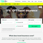 15% off Travel Insurance @ Travel Insurance Direct
