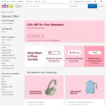 15% off Eligible Items on eBay for eBay Plus Members, 10% off for Non Members (Min Spend $120, Max Discount $200) @ eBay