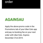 $5 off Your Next Uber Eats Order