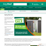 25% - 51% off  + 3 Free Accessories with Any Shed @ Easyshed.com.au