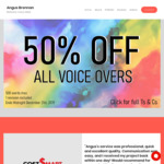 50% off All Voice Overs (up to 500 Words) @ Angusbrennan.com