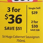 St Hugo Cabernet Sauvignon 750ml - 3 for $36 (In-Store Only) @ Liquorland