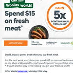 Earn 5x Points on Total Shop with $15 Spend on Meat @ Woolworths Rewards