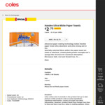 ½ Price Handee Ultra White Paper Towels 4pk $2.75 @ Coles