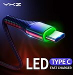 YKZ 3A LED Braided USB Type-C Cable 0.25m US$1.20 (~A$1.72), 1m US$1.88 (~A$2.69) Delivered @ YKZ Official Store AliExpress
