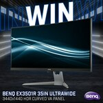 "Win a BenQ EX3501R 100Hz Curved 35"" Monitor Worth $999 from PC Case Gear"