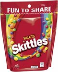 Skittles Fruits Share Bag 200g $2.25 (Was $4.30) Min Qty 3 + Delivery ($0 with Prime/ $39 Spend) @ Amazon AU