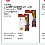 Huntkey Powerboard with 6 Sockets & 2 USB Ports Twin (2) Pack Surge Protection $31.99 @ Costco (Membship Reqd)