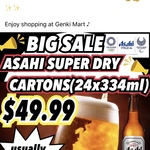 [QLD] Asahi Super Dry 24x 334ml Olympic Limited Edition Carton $49.99 (with Minimum $12.50 Spend on Groceries) @ Genki Mart