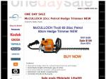 BRAND NEW McCulloch HEDGE Trimmer - HIGH quality- 25cc Petrol 60cm only $199.00! Ends 14th JULY
