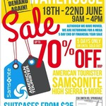 Up to 70% off Samsonite Warehouse Sale Melbourne Now till Sunday 22 June [MEL Springvale]