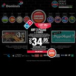 Domino's Pizza - Any 3 Pizzas, 2 1.25L Drinks and 2 Garlic Breads for $30 Delivered