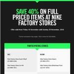 40% off All Full Price Items at Nike Factory Stores