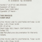 ZYNC 1.2m Micro USB and Lightning Cable $12 at Harvey Norman Armadale