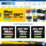 20% off Nikon Compacts, DSLRs & Lenses (100Hr Birthday Sale) @ Camera House
