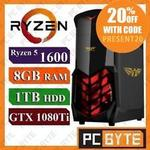 AMD 6-Core Ryzen 5 1600 3.6GHz 1TB GTX 1080ti Gaming Computer Desktop $1,631 | GTX 1080 $1407 I GTX1060 $1111 @ PC Byte eBay