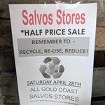[QLD] Take 50% off Storewide at all Gold Coast Salvos (Salvation Army Australia) Stores, Starting Saturday April 28