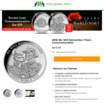 "2018 ""We Will Remember Them"" Commemorative Medal $10 Delivered @ Macquarie Mint"