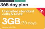 Kogan Small 365 Day Prepaid. Unlimited Calls & SMS + 3GB/30 Days $152.10 (Was $179)