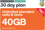 40GB Prepaid | 30 Days | $0.99 @ Kogan Mobile (New Customers)