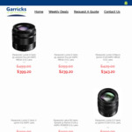 20% off Panasonic Camera Lenses + Free Shipping @ Garricks Cameras