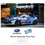 Win a 'Superdry in Your Element' Prize Pack, Loan of Subaru Car and Trip for 2 to Tasmania Worth $15,500 from Superdry