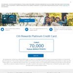 Citibank Platinum Credit Card: 70,000 Flybuys Points with $3000 Spend within 90 Days ($49 Annual Fee 1st Year, $149 Thereafter)
