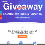 EaseUS Todo Backup Home 11.5 (Latest Version, Save $29.95), Free for 3 Months