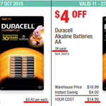Duracell Batteries AA 36-Pack $14.99 ($0.42 Each) | AAA 30-Pack $11.99 ($0.40 Each) @ Costco (Membership Required)