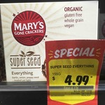 [VIC] 45% off Mary's Gone Crackers: Super Seed Everything - Organic, Gluten Free, Vegan 155g $4.99 @ Boccaccio Supa IGA (Balwyn)