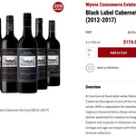 Wynns Black Label Cabernet: Vertical (2012-2017), 2012, 2015, or 2016 6pk $25.67/bt Delivered @ CellarDoor.co [New Members Only]