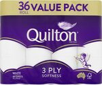 Quilton 3 Ply Toilet Tissue (180 Sheets Per Roll, 11x10cm), Pack of 36 $16 + Delivery ($0 with Prime/ $39 Spend) @ Amazon AU